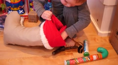 Cute little boy looking through Christmas stocking - stock footage