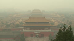 Forbidden City, air pollution, Beijing China Stock Footage