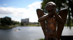 Monument Weeping Angel in Minsk, Belarus Stock Footage