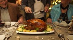 Detail cutting roasted christmas turkey Stock Footage