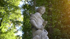 Sculptures in park of Wilanow Palace, Warsaw Stock Footage