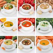 Collection of soups healthy eating soup in bowl tomato vegetable noodle - stock photo