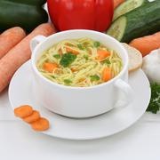 Healthy eating noodle soup in cup with noodles Stock Photos
