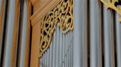Stock Video Footage of The big steel organ pipe inside the church