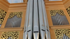 Lots of steel organ pipes on the wall Stock Footage