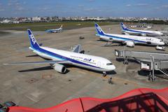 ANA All Nippon Airways airplanes at Fukuoka airport in Japan Stock Photos