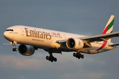 Emirates Boeing 777-300ER airplane - stock photo