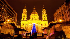 Christmas show at the Saint Stephen basilica in Budapest Stock Footage