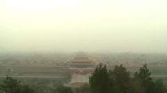 Forbidden City, smog air pollution, China Stock Footage