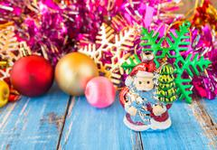 Christmas ball and christmas decorations on blue wooden table. - stock photo