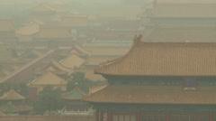 Forbidden City rooftops, smog, Beijing Stock Footage