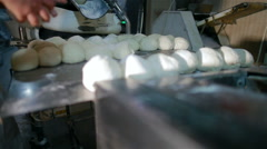 Baking bread products in the production , bakery Stock Footage