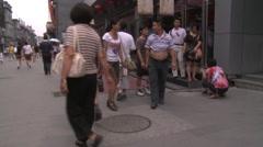 Beijing shopping, Chinese people, Qianmen Stock Footage