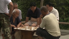 Playing a game of Chinese checkers in park - stock footage