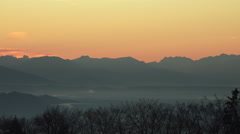 Red sky in the austrian and bavarian alps Stock Footage