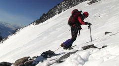 Climber go to the mountain Stock Footage
