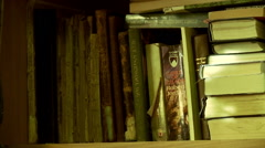 Shelf With Old Book Stock Footage