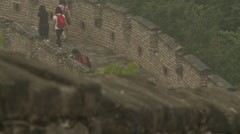 Tourists walking on China Great Wall Stock Footage
