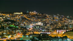 Night time Lapse of Nazareth, with the basilica of annunciation Stock Footage