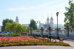 View of Resurrection (Rynkovaya) Church and town hall, Vitebsk, Belarus - stock photo