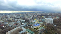 Flying over the church in Kiev - stock footage