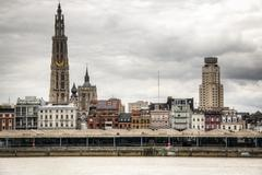 Antwerp skyline with the schelde river - stock photo
