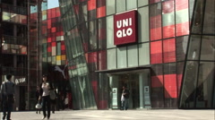 Chinese Uniqlo store at mall, Beijing Stock Footage