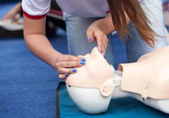 first aid training. CPR. - stock photo