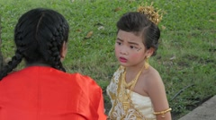 Girl nervous before performance,Bangkok,Loi Krathong,Thailand Stock Footage
