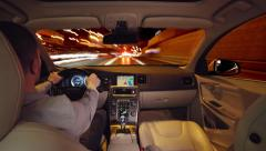 Night drive time lapse with camera placed inside car - stock footage
