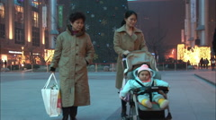 Chinese family Christmas shopping, China Arkistovideo