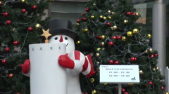 Snowman and Chinese sign, China Christmas Stock Footage