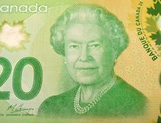 Queens line drawing on twenty dollar Canadian note - stock photo
