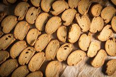 Rack of organic baked biscuits in an industrial oven Stock Photos