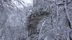 Rocks in snow Stock Footage