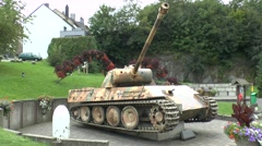 A German Panzer V tank in Houffalize, Belgium. Stock Footage