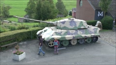 A German King Tiger (TigerII) tank in La Gleize, Belgium. Stock Footage