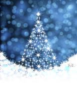 Christmas tree from stars on a blue background background Stock Illustration