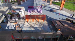 Skate park top view Stock Footage