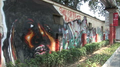 Stock Video Footage of Graffiti of rapper Big E. Smalls, China
