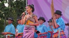 Students do a musical performance,Bangkok,Loi Krathong,Thailand Stock Footage