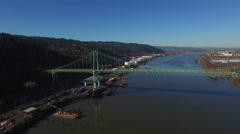 Aerial Oregon Portland St Johns Bridge - stock footage