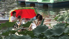 People on boat, Summer Palace, China Stock Footage
