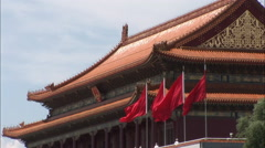Red Chinese flags, Tiananmen Gate, Beijing - stock footage
