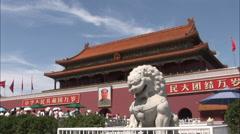 Forbidden City, lion statue, Tiananmen Gate - stock footage