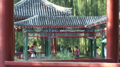 Chinese pavilion, Beijing park, China Stock Footage