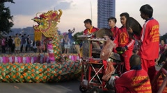 Musicians make music for dragon dance show,Bangkok,Loi Krathong,Thailand - stock footage