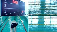 Swimming Pool Race,4K collage multi Stock Footage