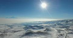 AERIAL: Snowy landscape Stock Footage