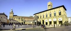 Bologna, Italy - December 27, 2015:  the Podesta palace and the City Hall of - stock photo